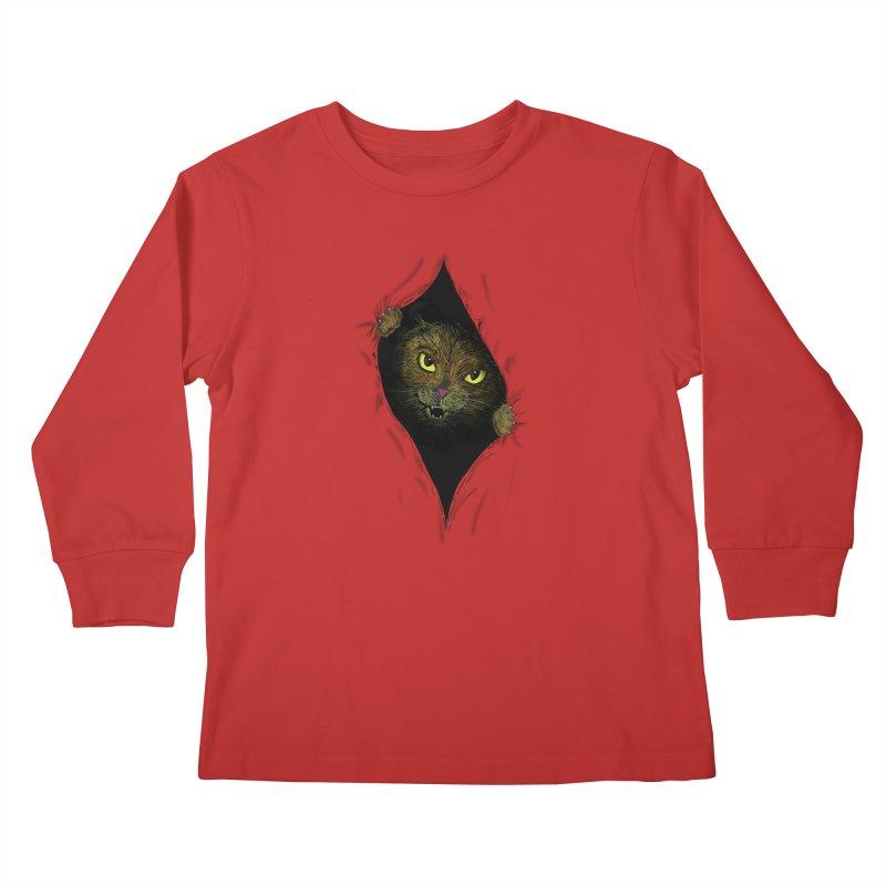 Cat Flap? Kids Longsleeve T-Shirt by Loganferret's Artist Shop