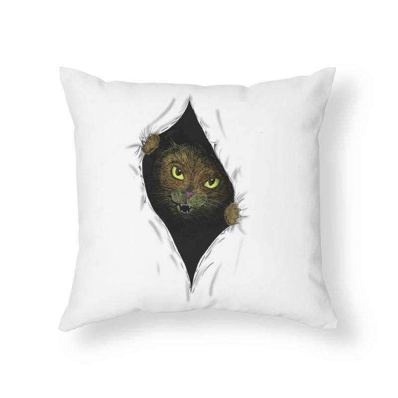 Cat Flap? Home Throw Pillow by Loganferret's Artist Shop