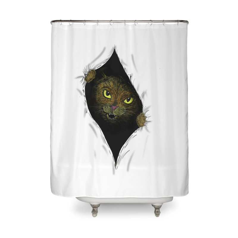 Cat Flap? Home Shower Curtain by Loganferret's Artist Shop