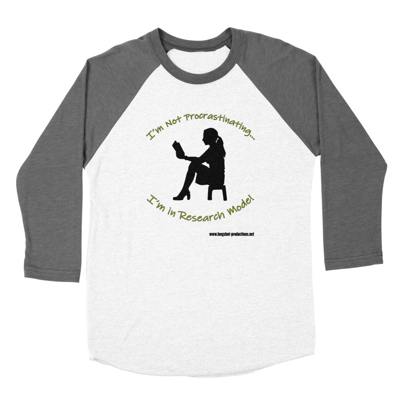 I'm Not Procrastinating...I'm in Research Mode! (Reading Woman) Women's Longsleeve T-Shirt by Author Centric Designs By Longshot Productions