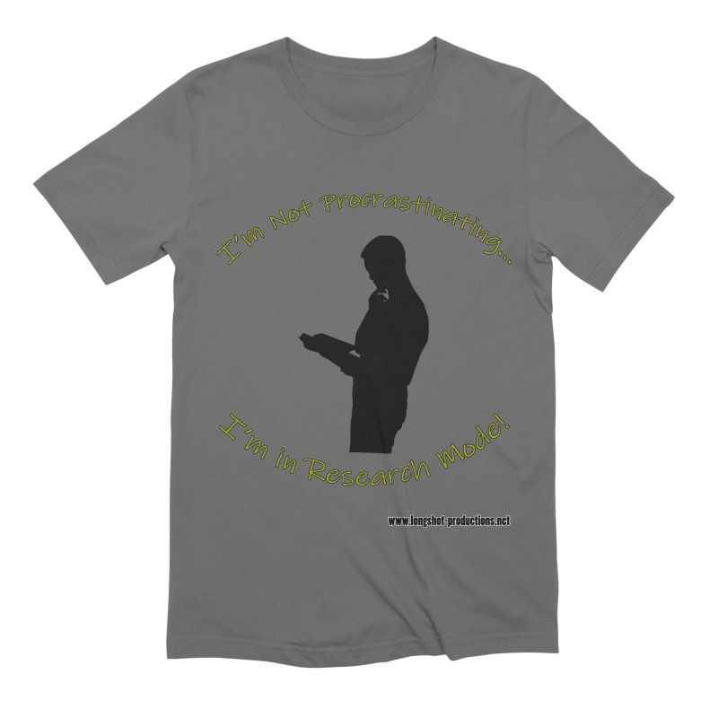I'm Not Procrastinating...I'm in Research Mode! (Reading Man) Men's T-Shirt by Author Centric Designs By Longshot Productions