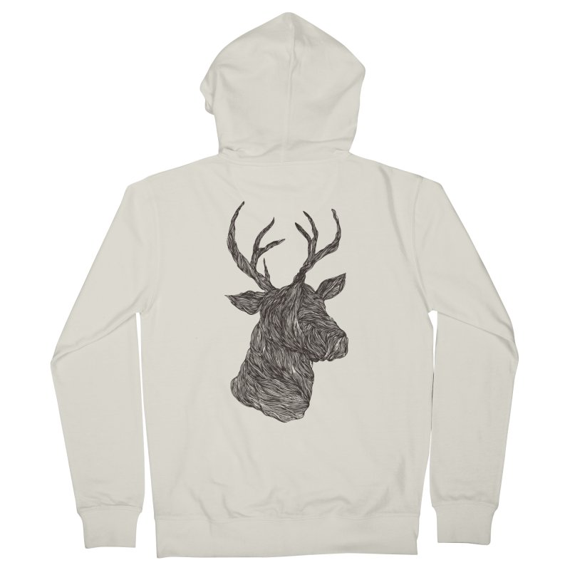Wire deer Men's Zip-Up Hoody by Loremnzo's Artist Shop