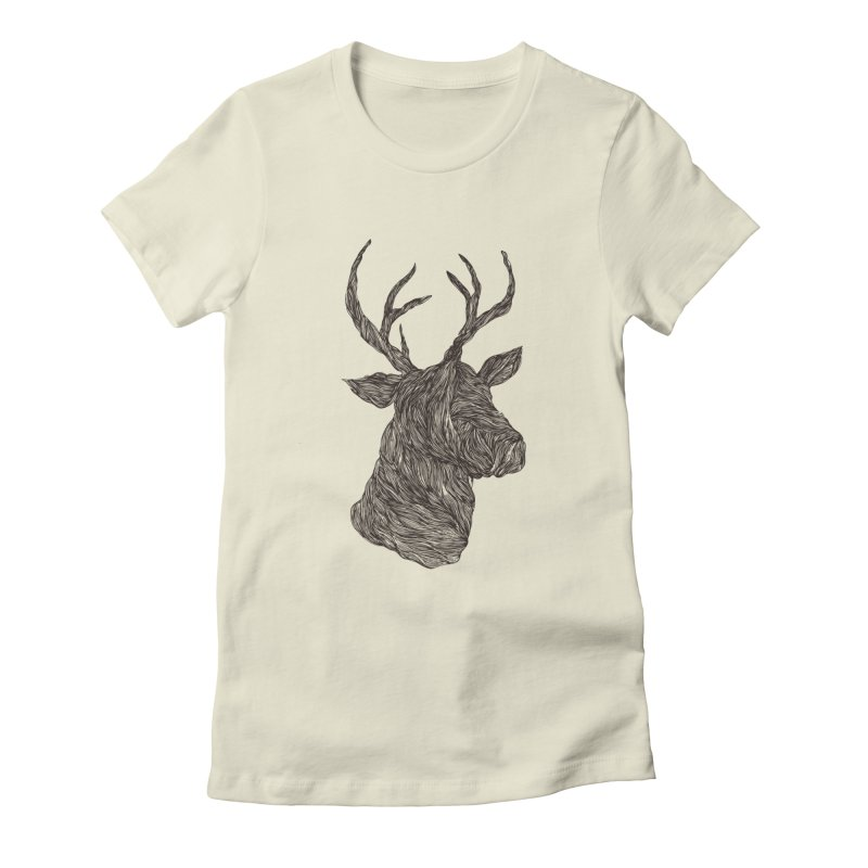 Wire deer Women's Fitted T-Shirt by Loremnzo's Artist Shop