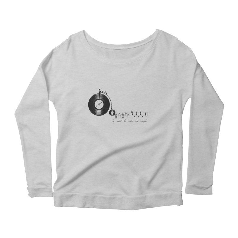 I want to ride my bicycle Women's Longsleeve Scoopneck  by Loremnzo's Artist Shop