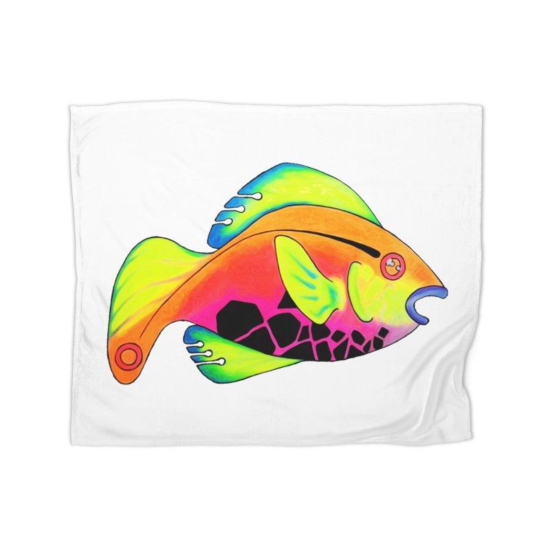 Fishy! Home Fleece Blanket Blanket by 7thSin Apparel