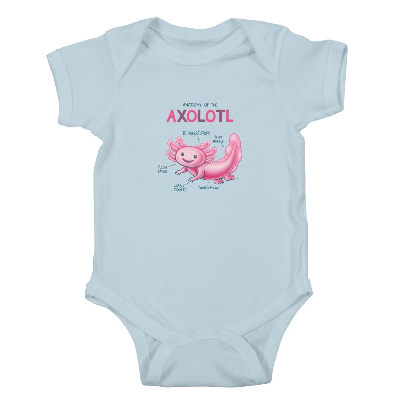 Anatomy of the Axolotl Kids Baby Bodysuit by Lupi Art + Illustration