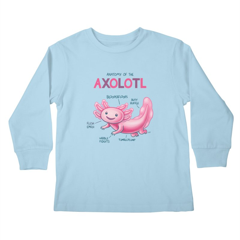 Anatomy of the Axolotl Kids Longsleeve T-Shirt by Lupi Art + Illustration
