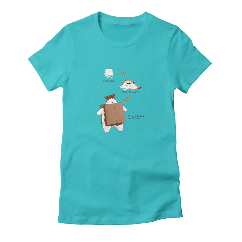 Smorlax in Women's Fitted T-Shirt Pacific Blue by Lupi Art + Illustration