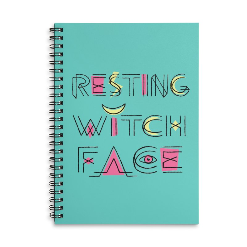 Resting Witch Face Accessories Lined Spiral Notebook by Lupi Art + Illustration
