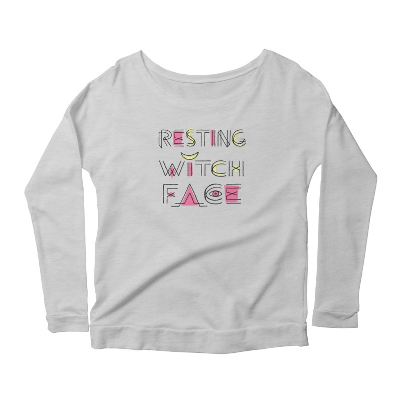 Resting Witch Face Women's Scoop Neck Longsleeve T-Shirt by Lupi Art + Illustration