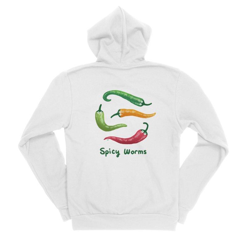 Spicy Worms Women's Sponge Fleece Zip-Up Hoody by Lupi Art + Illustration