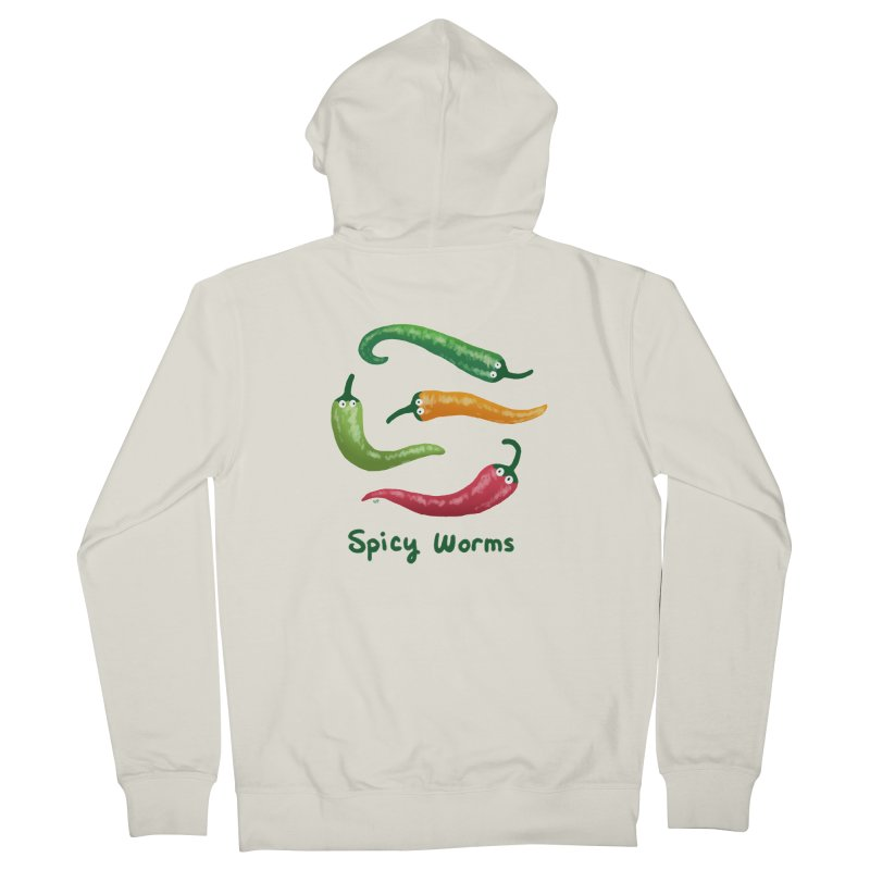 Spicy Worms Men's French Terry Zip-Up Hoody by Lupi Art + Illustration