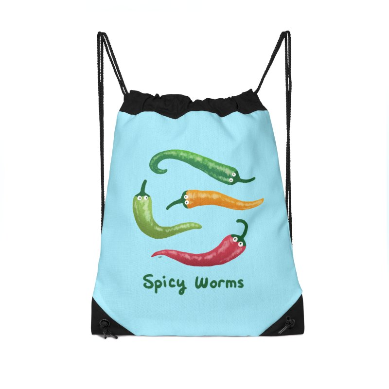 Spicy Worms Accessories Drawstring Bag Bag by Lupi Art + Illustration