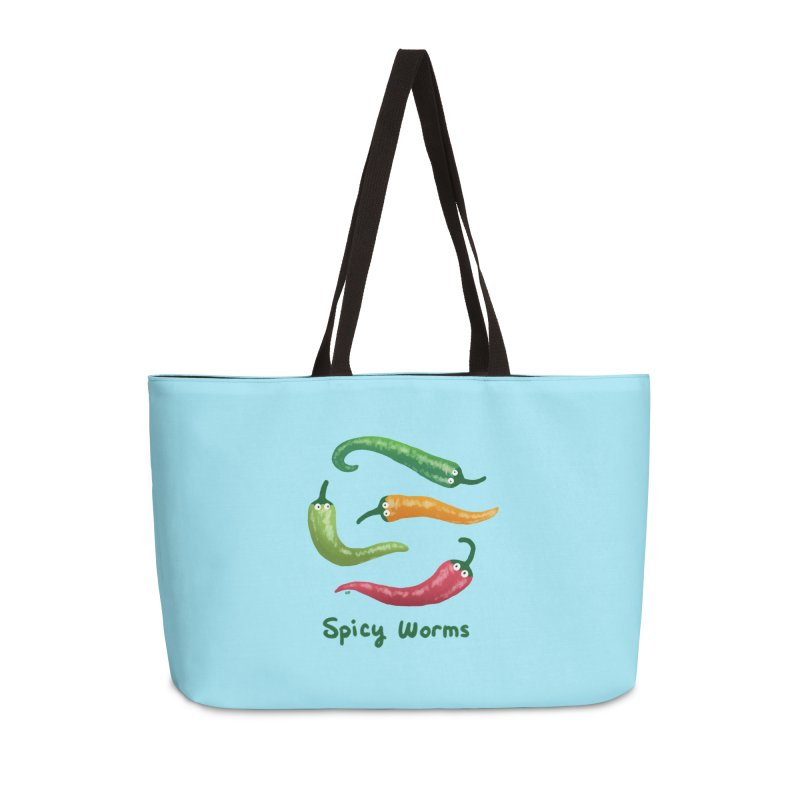 Spicy Worms Accessories Weekender Bag Bag by Lupi Art + Illustration