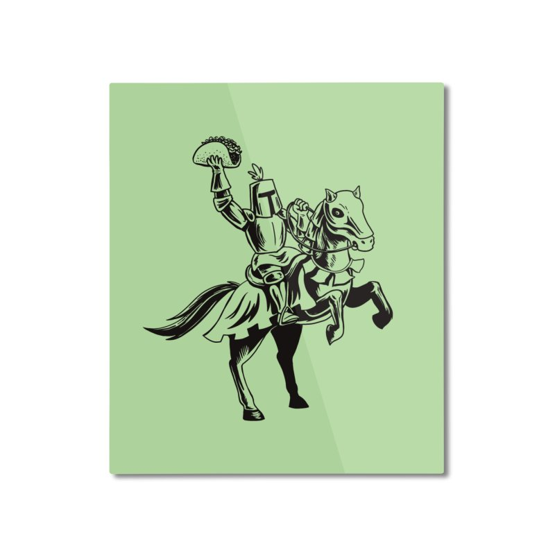 Taco Knight Home Mounted Aluminum Print by Lupi Art + Illustration