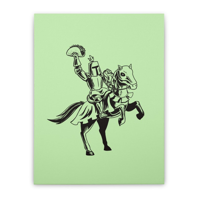 Taco Knight Home Stretched Canvas by Lupi Art + Illustration