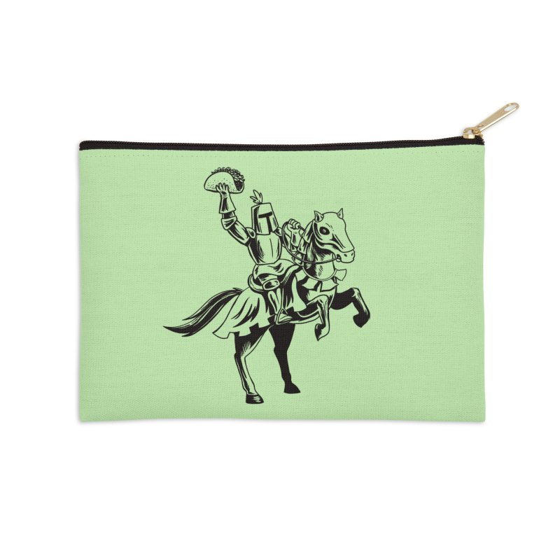 Taco Knight Accessories Zip Pouch by Lupi Art + Illustration