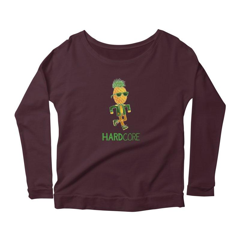Hardcore in Women's Scoop Neck Longsleeve T-Shirt Dark Purple by Lupi Art + Illustration