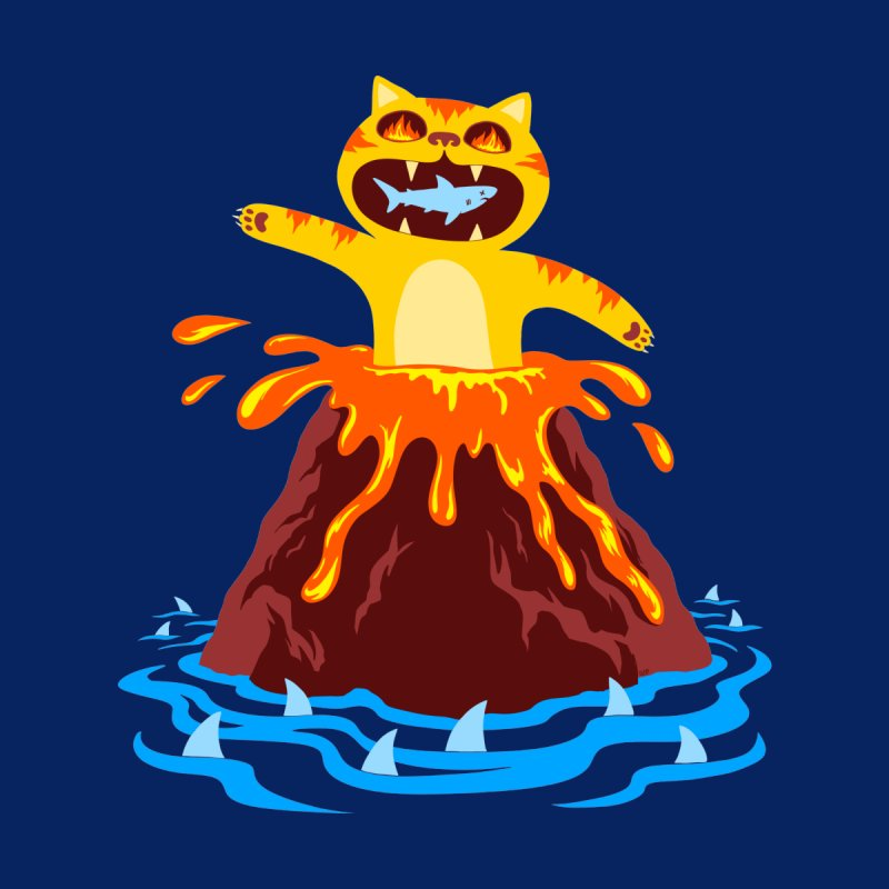 Volcano Cat Home Bath Mat by Lupi Art + Illustration