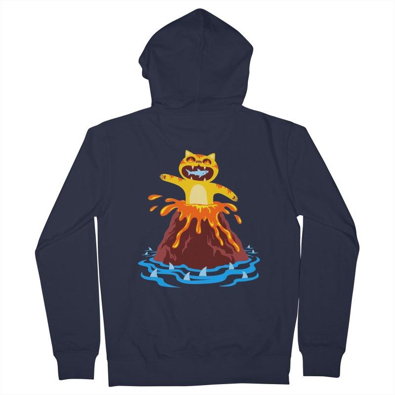 Volcano Cat Men's Zip-Up Hoody by Lupi Art + Illustration