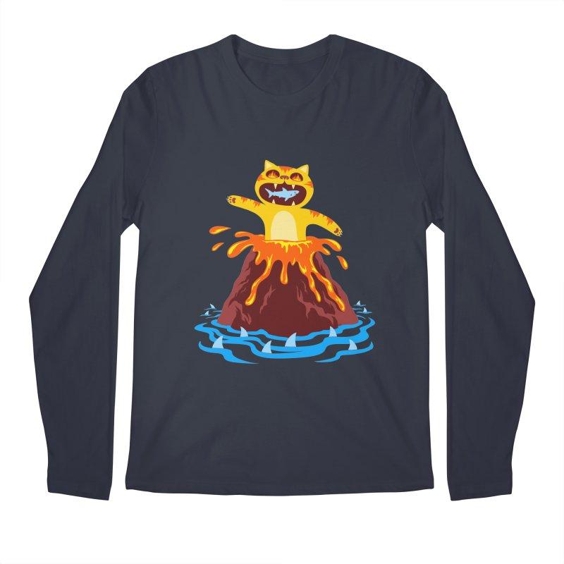 Volcano Cat Men's Longsleeve T-Shirt by Lupi Art + Illustration