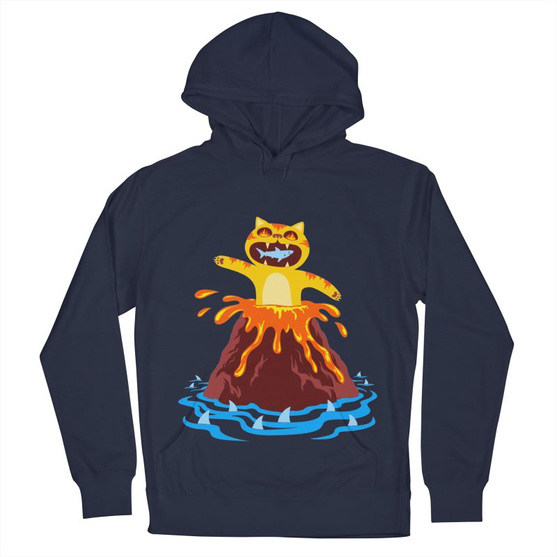 Volcano Cat Women's French Terry Pullover Hoody by Lupi Art + Illustration