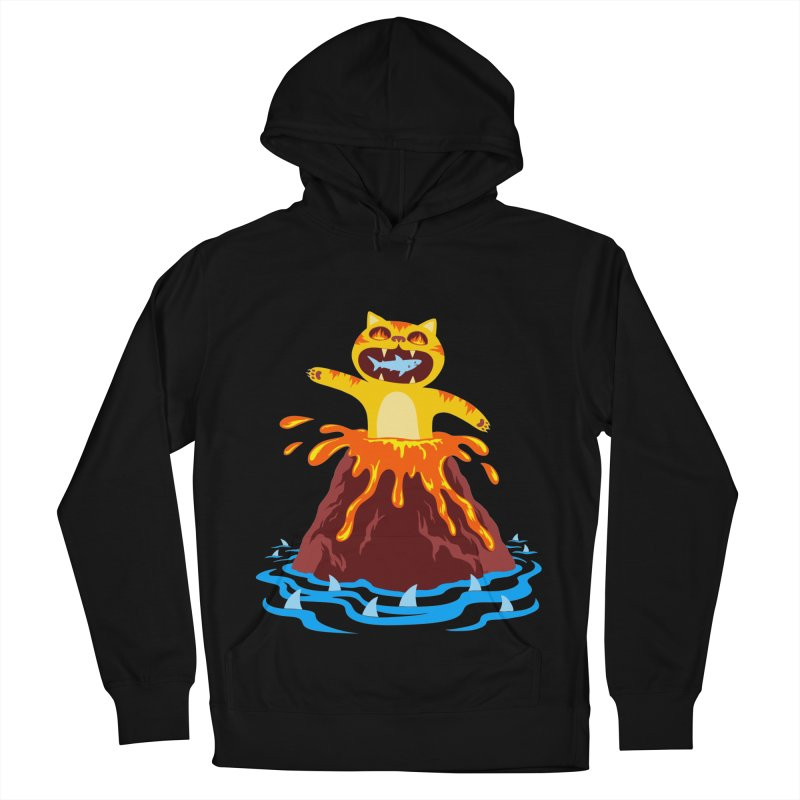 Volcano Cat Men's French Terry Pullover Hoody by Lupi Art + Illustration