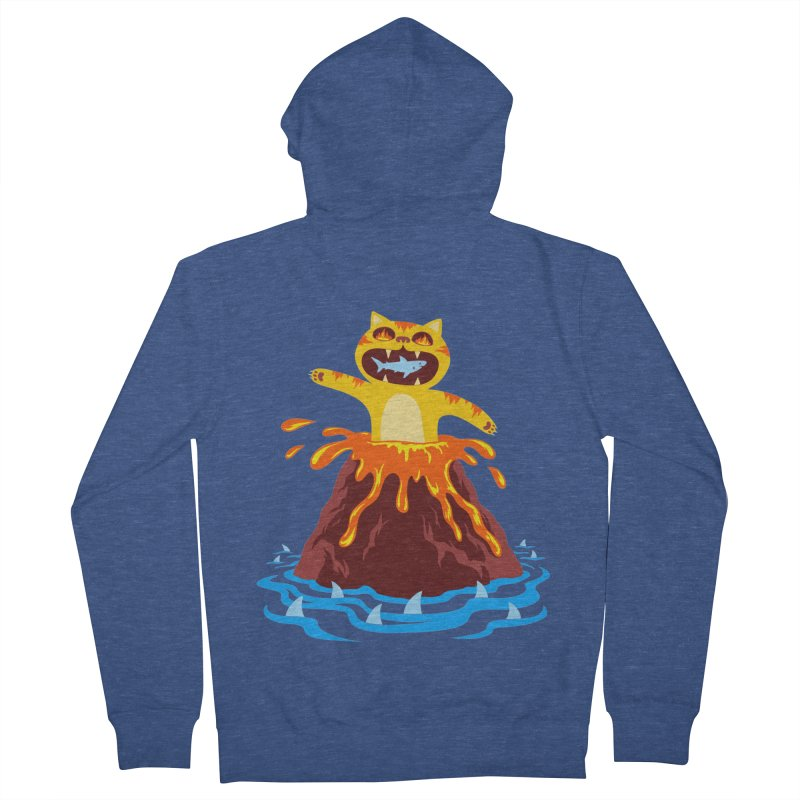Volcano Cat Men's French Terry Zip-Up Hoody by Lupi Art + Illustration
