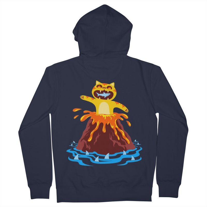 Volcano Cat Men's Zip-Up Hoody by Lupi Art + Illustration