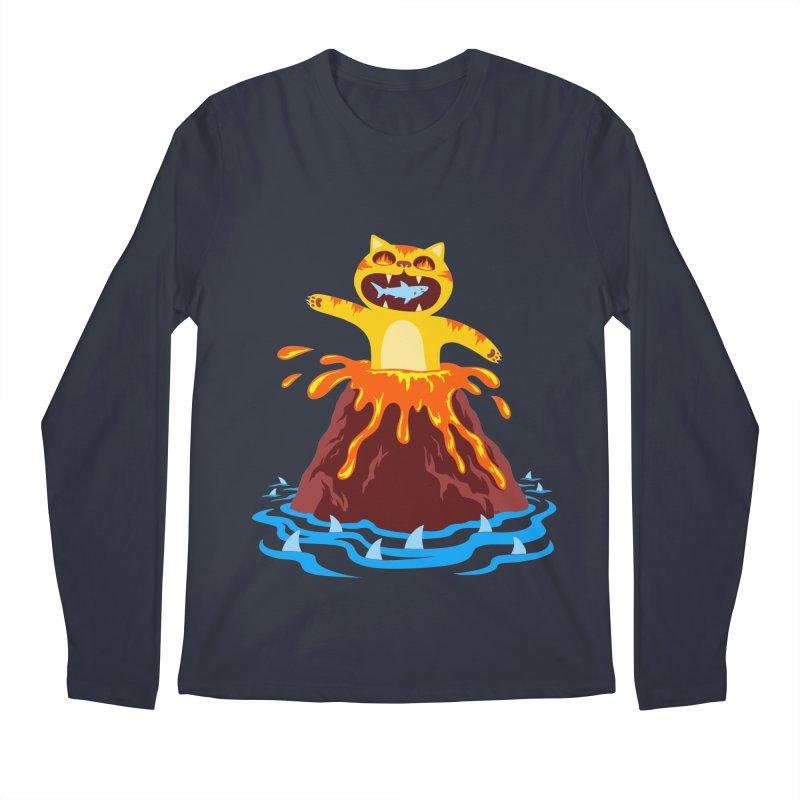 Volcano Cat Men's Regular Longsleeve T-Shirt by Lupi Art + Illustration