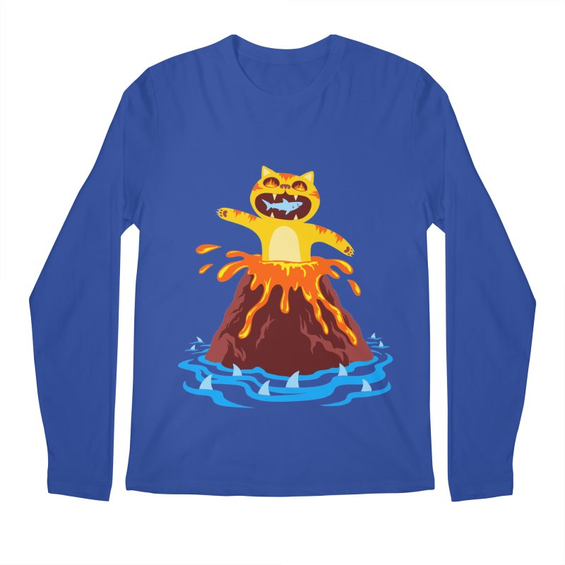 Volcano Cat Men's Longsleeve T-Shirt by Lupi Art + Illustration