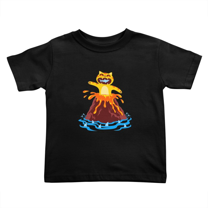 Volcano Cat Kids Toddler T-Shirt by Lupi Art + Illustration