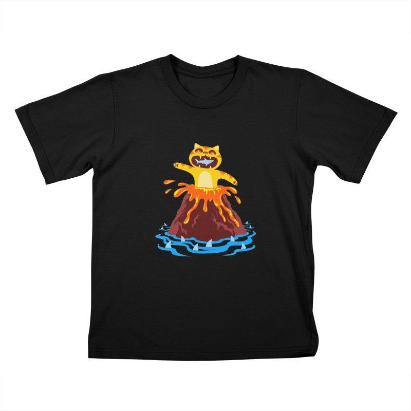 Volcano Cat Kids T-Shirt by Lupi Art + Illustration