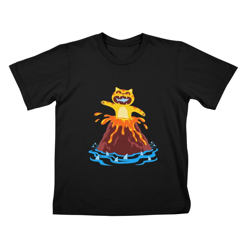 Volcano Cat Kids T-shirt by Lupi Art + Illustration