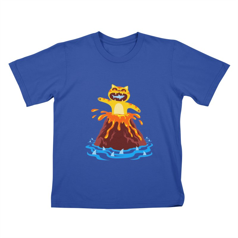 Volcano Cat in Kids T-shirt Royal Blue by Lupi Art + Illustration