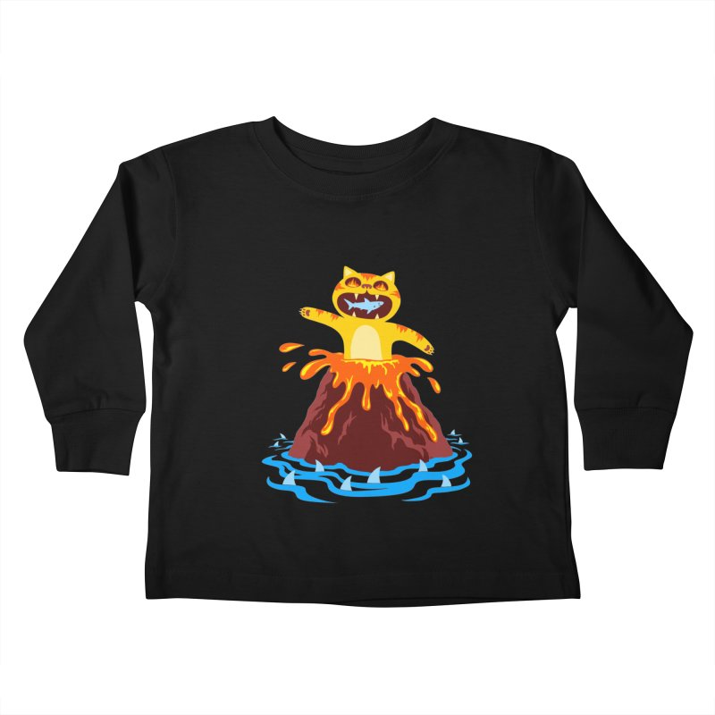 Volcano Cat Kids Toddler Longsleeve T-Shirt by Lupi Art + Illustration