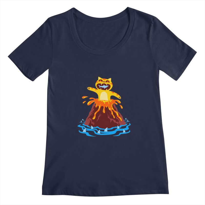 Volcano Cat Women's Regular Scoop Neck by Lupi Art + Illustration
