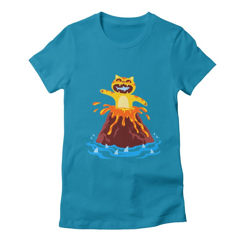 Volcano Cat Women's Fitted T-Shirt by Lupi Art + Illustration
