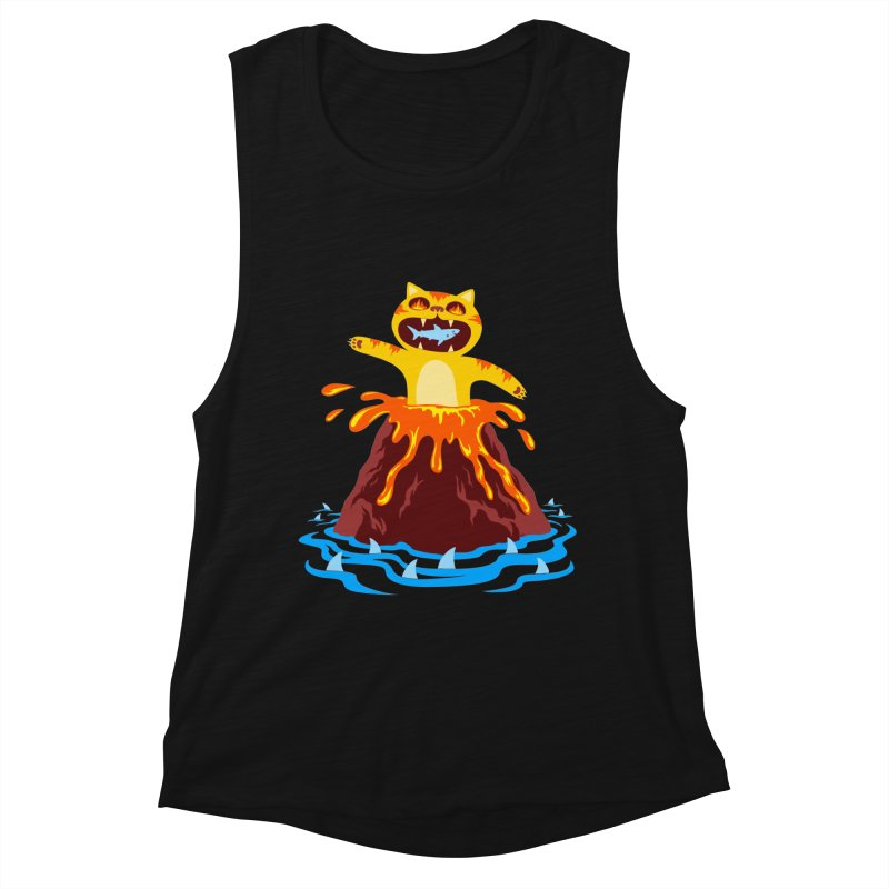Volcano Cat Women's Muscle Tank by Lupi Art + Illustration