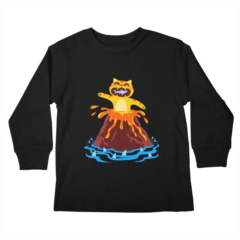 Volcano Cat Kids Longsleeve T-Shirt by Lupi Art + Illustration