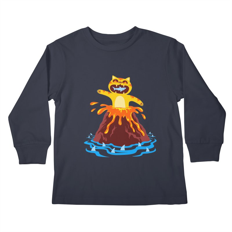 Volcano Cat Kids Longsleeve T-Shirt by Lupi Art + Illustration