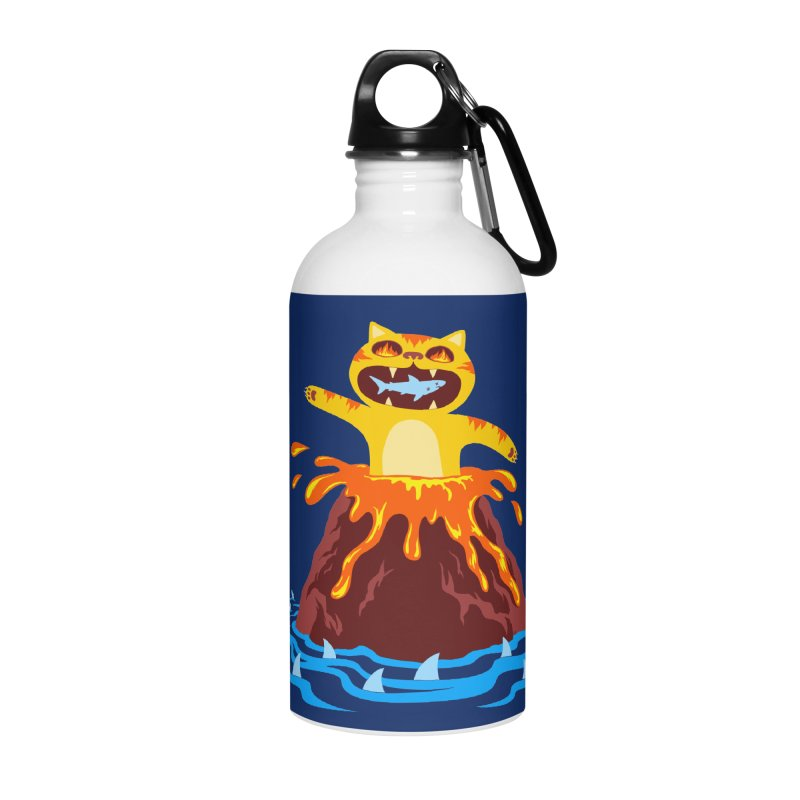 Volcano Cat Accessories Water Bottle by Lupi Art + Illustration