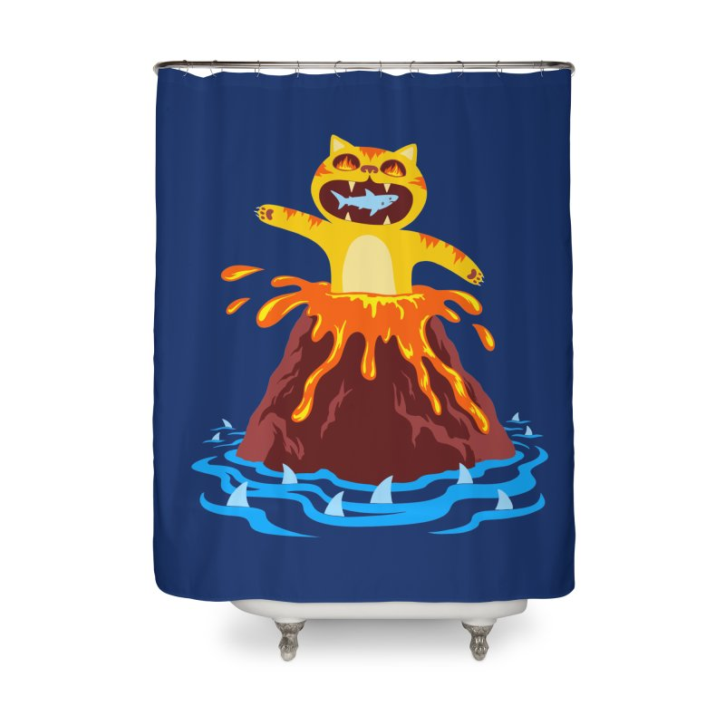 Volcano Cat Home Shower Curtain by Lupi Art + Illustration