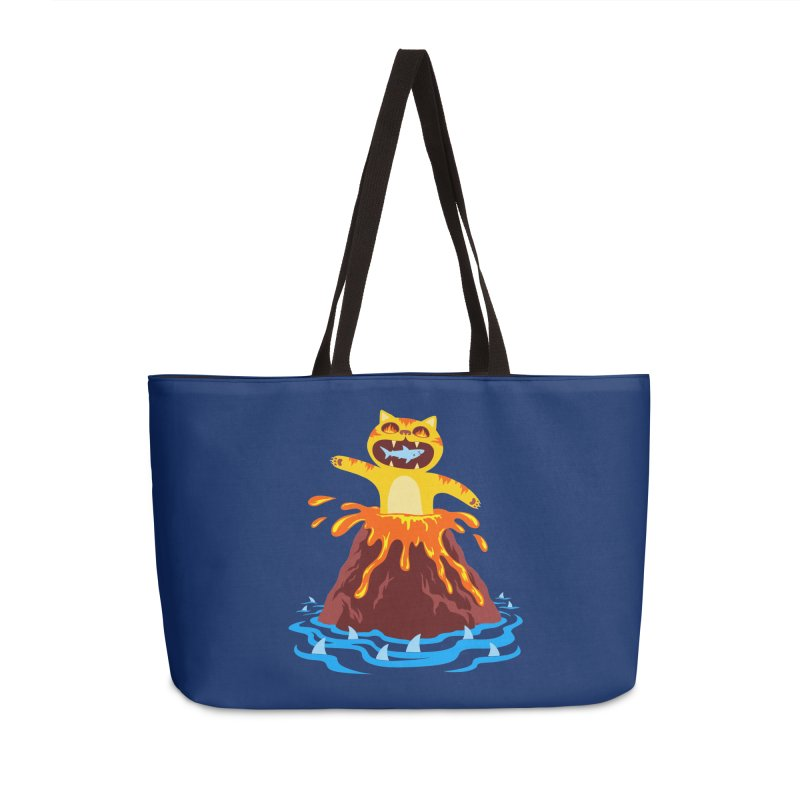 Volcano Cat Accessories Weekender Bag Bag by Lupi Art + Illustration