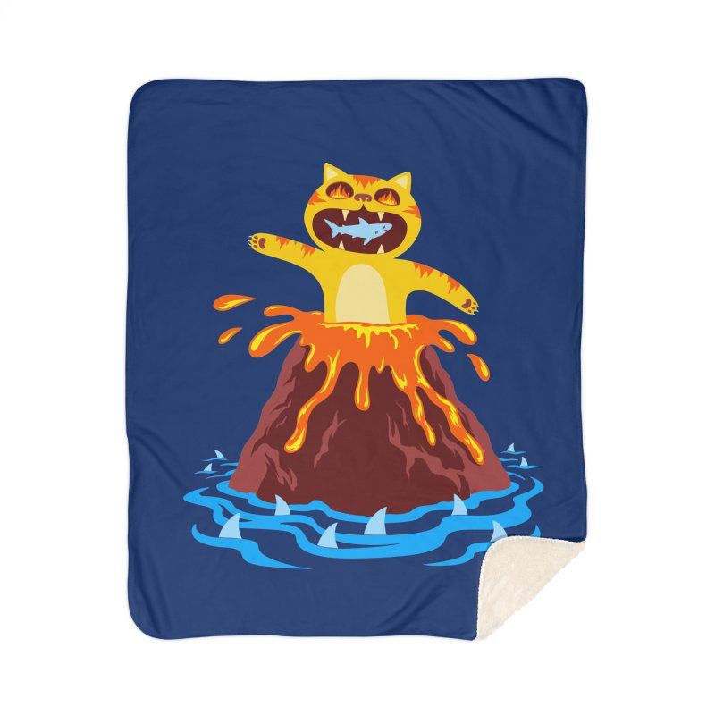 Volcano Cat Home Blanket by Lupi Art + Illustration