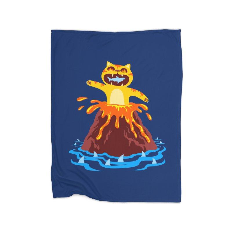 Volcano Cat Home Fleece Blanket by Lupi Art + Illustration