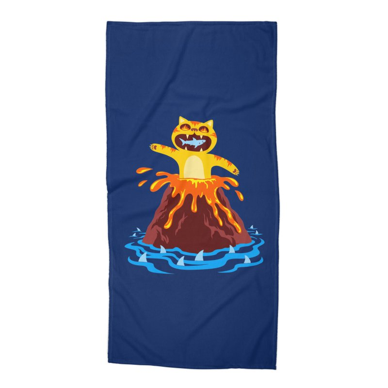 Volcano Cat Accessories Beach Towel by Lupi Art + Illustration