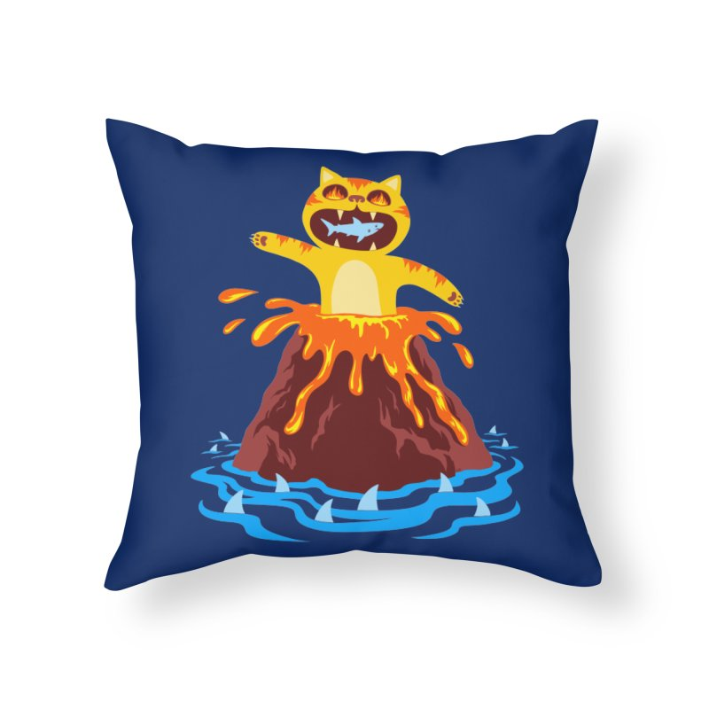 Volcano Cat Home Throw Pillow by Lupi Art + Illustration