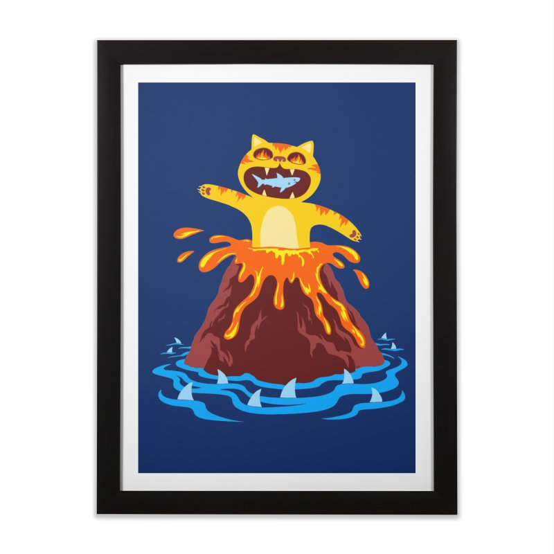 Volcano Cat Home Framed Fine Art Print by Lupi Art + Illustration