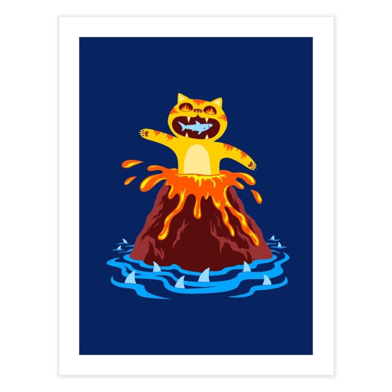 Volcano Cat Home Fine Art Print by Lupi Art + Illustration